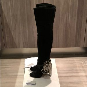 Jimmy Choo Doma snakeskin over knees boots